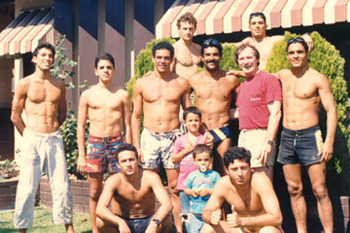 The Gracie family, listed l-r. Back row: Rilion and Royler; Middle row: Royce, Pedro Valente, Relson, Rorion, Hal Faulkner and Rickson; Front row: Renzo, Ryron, Ralek, Rolker (Photo credit: Hal Faulkner)