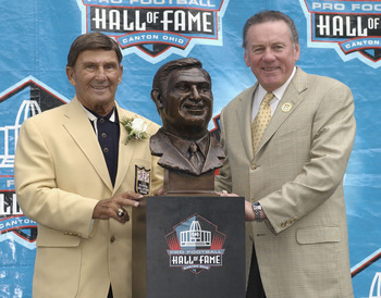 Len Dawson, pictured right, in Canton, Ohio with his former head coach, Hank Stram.