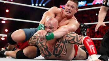 Cena actually finishes Tensai with the Attitude Adjustment, but this is a pretty sweet photo. (Image courtsey of WWE.com)