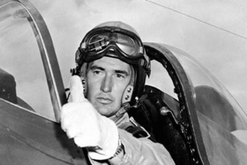 Ted Williams in his fighter during World War II, courtesy of weston55.blogspot.com.