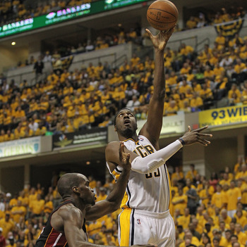 Roy Hibbert goes up for a shot in Indiana's Game 6 loss to Miami.