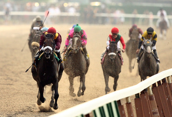 Da'Tara leading the 2008 Belmont Stakes field
