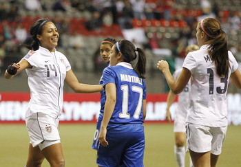Get used to this image of two young US stars. Sydney Leroux (left) with fellow US forward Alex Morgan (right).