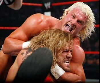 Ziggler takes on former superstar Edge. Photo by WWE.com
