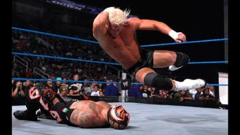 Ziggler takes on Rey Mysterio at a SmackDown show. Photo by WWE.com
