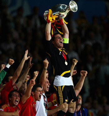 Iker Casillas captained Spain to glory in Euro 2008.