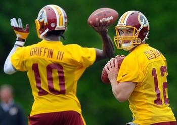 Griffin and Cousins work out at Redskins OTAs.