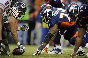 Broderick Bunkley in the middle of the Broncos line (photo courtesy of US Presswire).