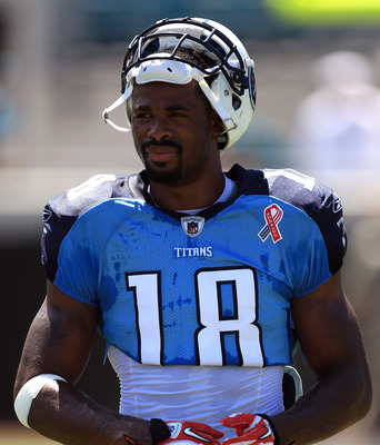 JACKSONVILLE, FL - SEPTEMBER 11:  Kenny Britt #18 of the Tennessee Titans against the Jacksonville Jaguars during their season opener at EverBank Field on September 11, 2011 in Jacksonville, Florida.  (Photo by Streeter Lecka/Getty Images)