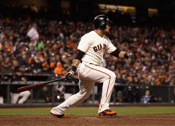 SAN FRANCISCO, CA - MAY 29:  Melky Cabrera #53 of the San Francisco Giants hits a single in the eighth inning against the Arizona Diamondbacks at AT&amp;T Park on May 29, 2012 in San Francisco, California. This was Cabrera's 50th hit in May that set a new San