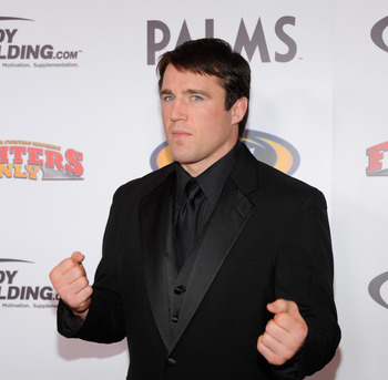 LAS VEGAS, NV - NOVEMBER 30:  Host and mixed martial artist Chael Sonnen arrives at the Fighters Only World Mixed Martial Arts Awards 2011 at the Palms Casino Resort November 30, 2011 in Las Vegas, Nevada.  (Photo by Ethan Miller/Getty Images)