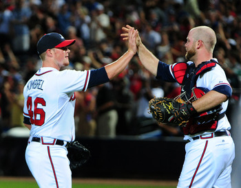 ATLANTA, GA - MAY 30: Craig Kimbrel #46 and Brian McCann #16 of the Atlanta Braves celebrate after the game against the St. Louis Cardinals at Turner Field on May 30, 2012 in Atlanta, Georgia. (Photo by Scott Cunningham/Getty Images)