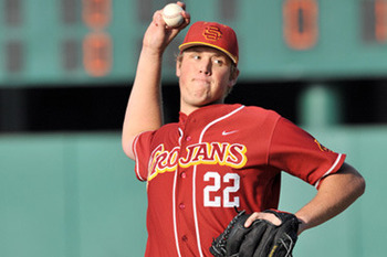 USC pitcher Jordan Hershiser, taken by the Los Angeles Dodgers with the 1,046th pick, is the son of former Dodger great Orel Hershisher. Photo courtesy smoaky.com