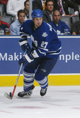 TORONTO - SEPTEMBER 27:  Defenseman Bryan Marchment  #27 of the Toronto Maple Leafs skates against the Buffalo Sabres during their NHL pre-season game at the Air Canada Centre September 27, 2005 in Toronto, Ontario.The Sabres won the game 5-2.  (Photo By
