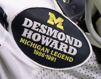 "The ""Michigan Football Legend"" patch which is worn by each honoree."