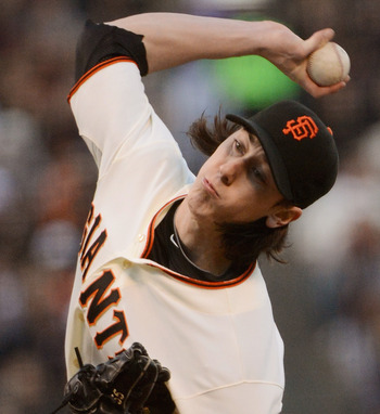 Tim Lincecum throws a pitch in San Francisco's loss to Arizona on May 30.