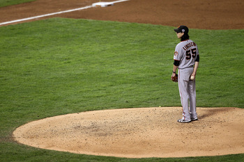 Tim Lincecum prepares to throw a pitch in San Francisco's Game 5 win of the 2010 World Series.