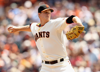 Matt Cain leads the National League with 86 innings pitched.