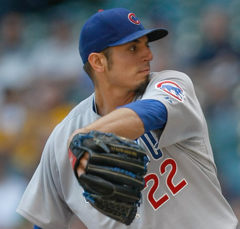 Matt Garza throws a pitch as the Cubs play the Brewers.