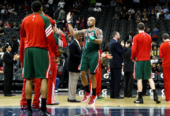NEWARK, NJ - MARCH 12:  Drew Gooden #0 of the Milwaukee Bucks greets his teammates during player introductions against the New Jersey Nets at Prudential Center on March 12, 2012 in Newark, New Jersey.  NOTE TO USER: User expressly acknowledges and agrees