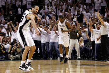 SAN ANTONIO, TX - JUNE 04:  Manu Ginobili #20 of the San Antonio Spurs reacts after hitting three pointer in the third period against the Oklahoma City Thunder in Game Five of the Western Conference Finals of the 2012 NBA Playoffs at AT&T Center on June 4