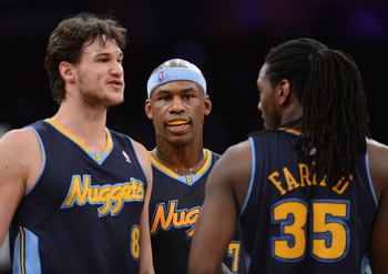 LOS ANGELES, CA - MAY 12:  Danilo Gallinari #8, Al Harrington #7 and Kenneth Faried #35 of the Denver Nuggets talk in the first half while taking on the Los Angeles Lakers in Game Seven of the Western Conference Quarterfinals in the 2012 NBA Playoffs on M