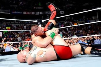 John Cena gives Tensai his first pin-fall loss. (Courtesy of WWE.com)