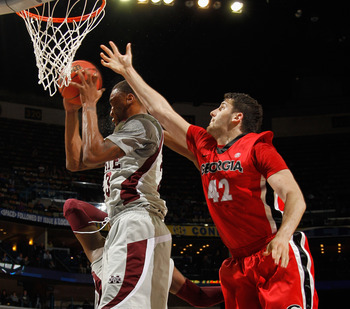 Arnett Moultrie brings down a rebound in Mississippi State's NCAA Tournament loss to Georgia.