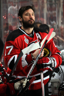 NEWARK, NJ - MAY 30: Ilya Kovalchuk #17 of the New Jersey Devils looks on prior to Game One of the 2012 NHL Stanley Cup Final against the Los Angeles Kings at the Prudential Center on May 30, 2012 in Newark, New Jersey.  (Photo by Bruce Bennett/Getty Imag