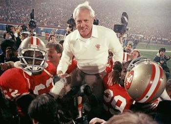 Bill Walsh celebrates the final win of his career in Super Bowl XXIII. (Source: The Comedy Point)
