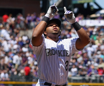 Wilin Rosario leads National League rookies with nine home runs.