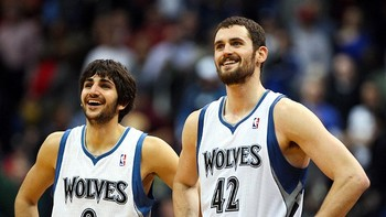 Timberwolves Ricky Rubio and Kevin Love