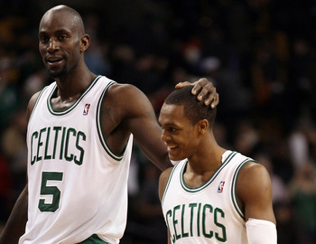Celtics Kevin Garnett and Rajon Rondo