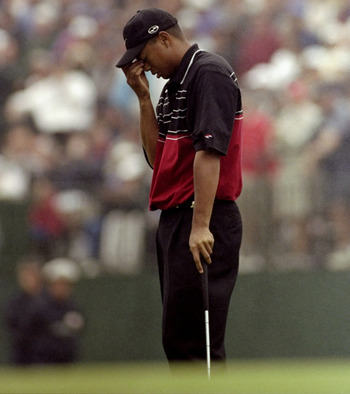 20 Jun 1999:  Tiger Woods of the United States is dejected on the 18 th green after missing a putt during the last day of the 1999 US Open played on the number two course at Pinehurst in North Carolina, USA. \ Mandatory Credit: Donald Miralle /Allsport