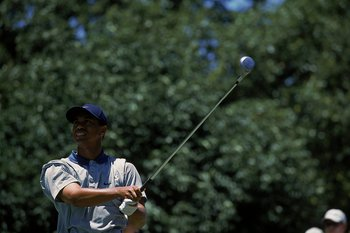 16 Jun 2001:  Tiger Woods keeps his eye on the ball after hitting it during the 101st US Open at the Southern Hills Country Club in Tulsa, Oklahoma.Mandatory Credit: Harry How  /Allsport