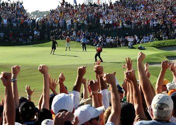 SAN DIEGO - JUNE 15:  Tiger Woods reacts to his birdie putt on the 18th green to force a playoff with Rocco Mediate during the final round of the 108th U.S. Open at the Torrey Pines Golf Course (South Course) on June 15, 2008 in San Diego, California.  (P
