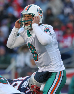 FOXBORO, MA - DECEMBER 24:    Matt Moore #8 of the Miami Dolphins calls a play during a game with the New England Patriots in the second quarter at Gillette Stadium on December 24, 2011 in Foxboro, Massachusetts. (Photo by Jim Rogash/Getty Images)