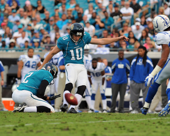 JACKSONVILLE, FL - JANUARY 01:  Kicker Josh Scobee #10  of the Jacksonville Jaguars converts a field goal against the Indianapolis Colts January 1, 2012 at EverBank Field in Jacksonville, Florida.  Scobee converted four field goals in the game. (Photo by 