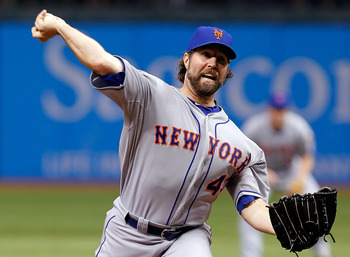 R.A. Dickey almost joined Matt Cain in the perfect game club.