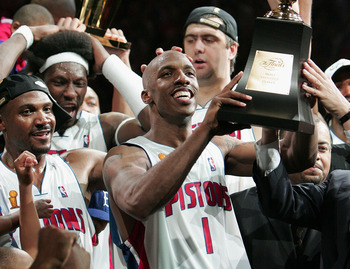 Chauncey Billips celebrates the Detroit Pistons first Finals win in over a decade.