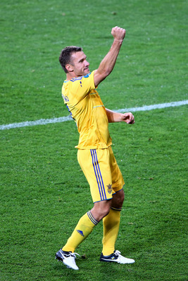 KIEV, UKRAINE - JUNE 11:  Andriy Shevchenko of Ukraine celebrates victory at the final whistle during the UEFA EURO 2012 group D match between Ukraine and Sweden at The Olympic Stadium on June 11, 2012 in Kiev, Ukraine.  (Photo by Martin Rose/Getty Images