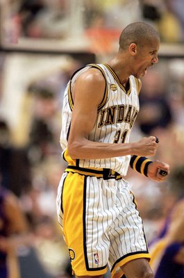 16 Jun 2000:  Reggie Miller #31 of the Indiana Pacers celebrates during the NBA Finals Game 5 against the Los Angeles Lakers at the Conseco Fieldhouse in Indianapolis, Indiana.  The Pacers defeated the Lakers 120-87.  NOTE TO USER: It is expressly underst
