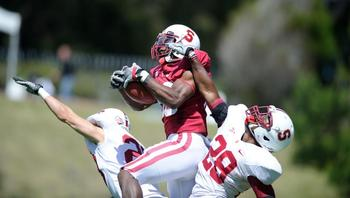 Ty unstopped by DBs in spring game (photo by Stanford Football)