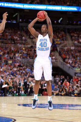 ST. LOUIS, MO - MARCH 23:  Harrison Barnes #40 of the North Carolina Tar Heels attempts a shot against the Ohio Bobcats during the 2012 NCAA Men's Basketball Midwest Regional Semifinal at Edward Jones Dome on March 23, 2012 in St. Louis, Missouri. North C