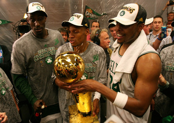 "Boston's ""big three""  of Kevin Garnett, Ray Allen and Paul Pierce celebrate their NBA Finals victory."