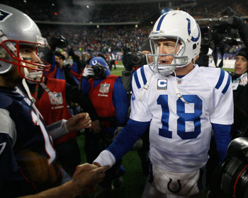Peyton Manning shakes hands with Tom Brady after the Colts lost to the Patriots in 2010. These two will face off October 7 in Massachusetts.