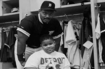 Cecil with a young Prince in the Tigers' clubhouse, courtesy of sportsgrid.com.