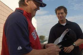 Ron and Chris Johnson at Spring Training in 2008, courtesy of examiner.com.