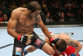 Jose Aldo's knockout of Chad Mendes was downright scary. Photo by Josh Hodges/Zuffa LLC/Zuffa LLC via Getty Images.