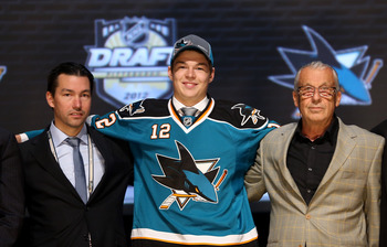 PITTSBURGH, PA - JUNE 22:  Tomas Hertl (C), 17th overall pick by the San Jose Sharks, poses on stage with Sharks representatives during Round One of the 2012 NHL Entry Draft at Consol Energy Center on June 22, 2012 in Pittsburgh, Pennsylvania.  (Photo by